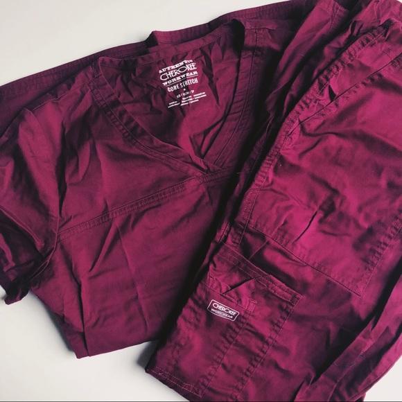 2d7099396ac Cherokee Other | Burgundy Authentic Workwear Scrub Set | Poshmark